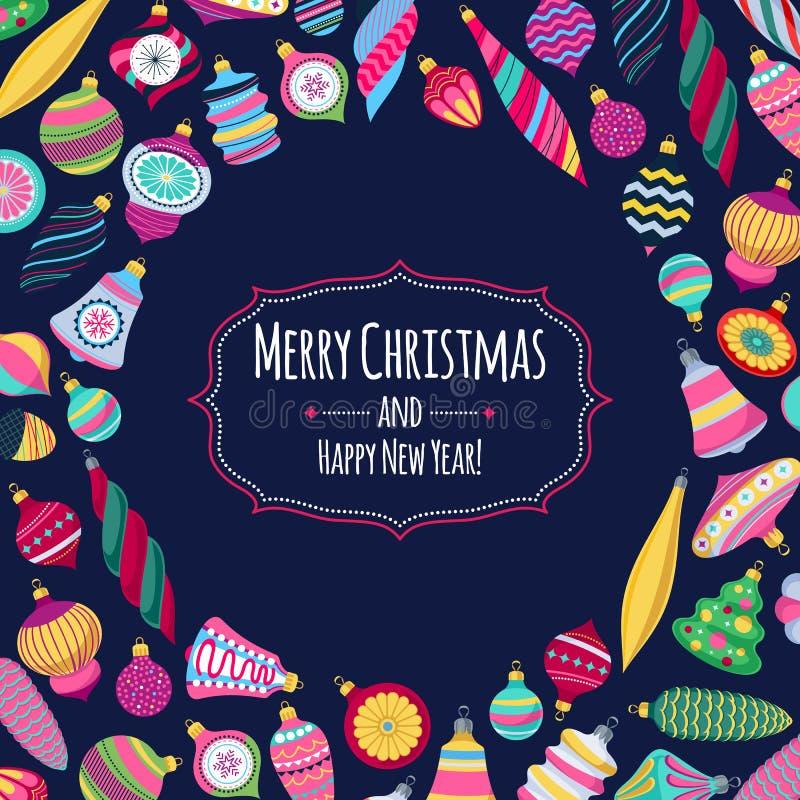 Kleurrijke retro snuisterijenachtergrond De decoratieve ballen van de Kerstmisboom vector illustratie