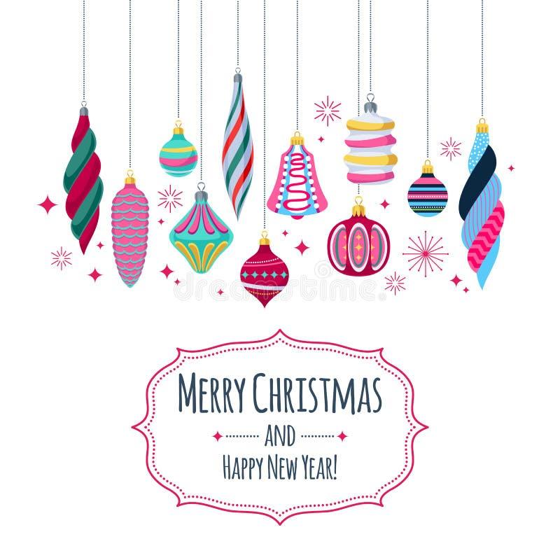 Kleurrijke retro snuisterijenachtergrond De decoratieve ballen van de Kerstmisboom stock illustratie
