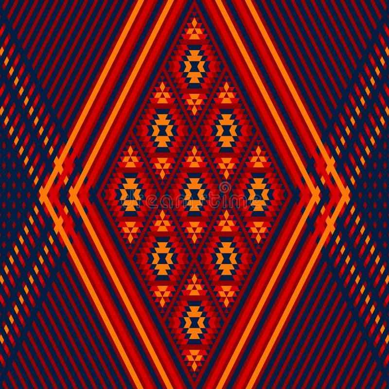 Kleurrijke rode gele blauwe Azteekse ornament geometrische etnische illustratie, vector vector illustratie