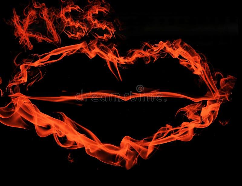 Kleurrijke rook liefde de abstracte van achtergrondkuslippen stock fotografie