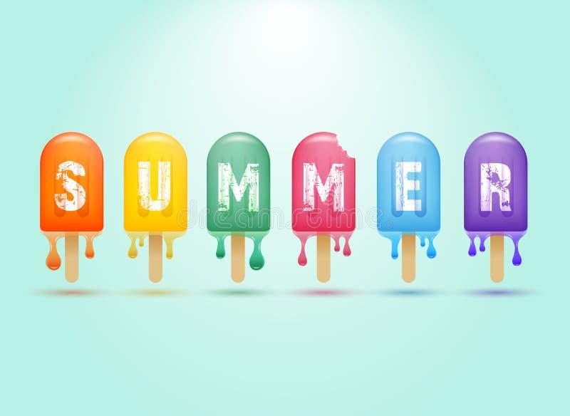 Kleurrijke roomijsbar op een stok, de zomerconcept royalty-vrije illustratie
