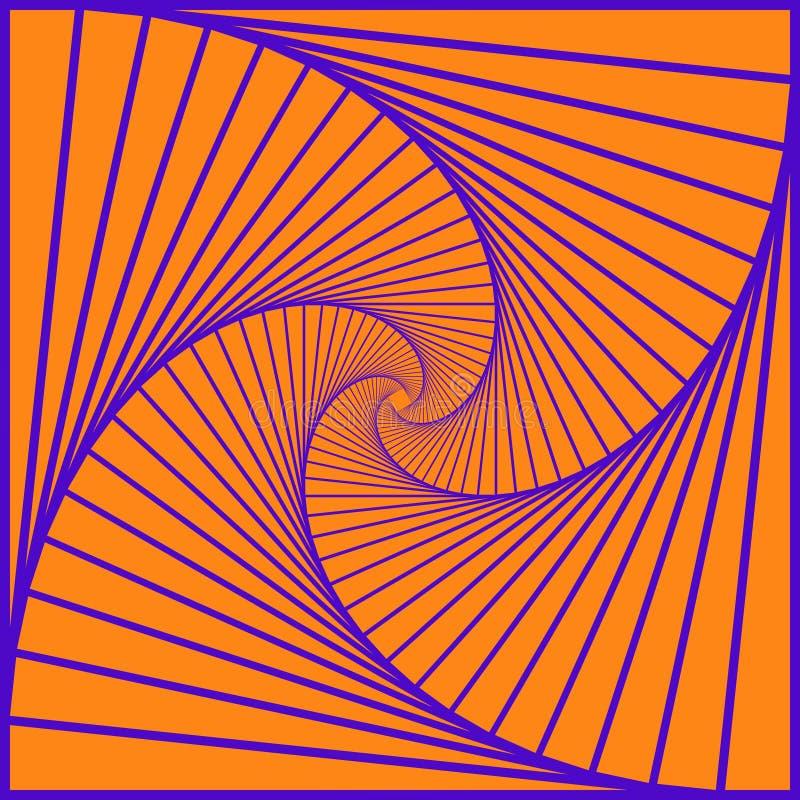 Kleurrijke roterende geometrische blauwe vierkanten Geometrische abstracte optische illusie op gele achtergrond Vector eps10 royalty-vrije illustratie