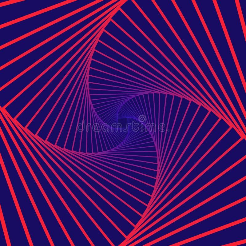 Kleurrijke roterende geometrische violette en blauwe vierkanten Geometrische abstracte optische illusie op donkere violette achte royalty-vrije illustratie