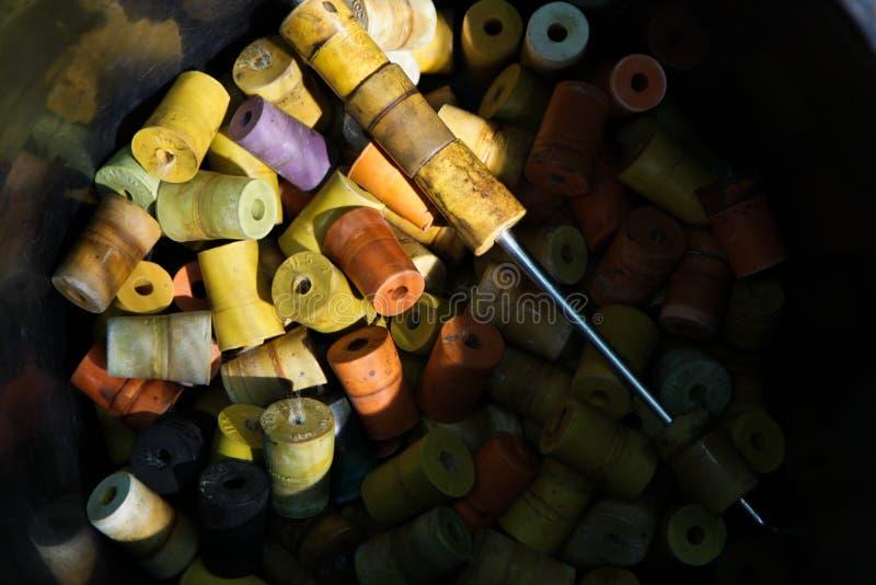 Kleurrijke rubberkroonkurk stock fotografie