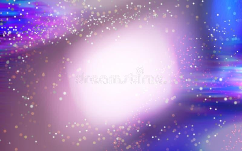 Kleurrijke ruimteachtergrond Gloeiende nevel en zon Abstract heelal stock illustratie
