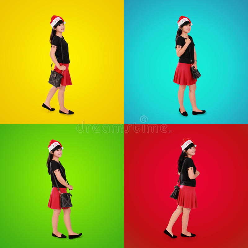 Kleurrijke samenstelling van modieus Kerstmismeisje stock afbeeldingen