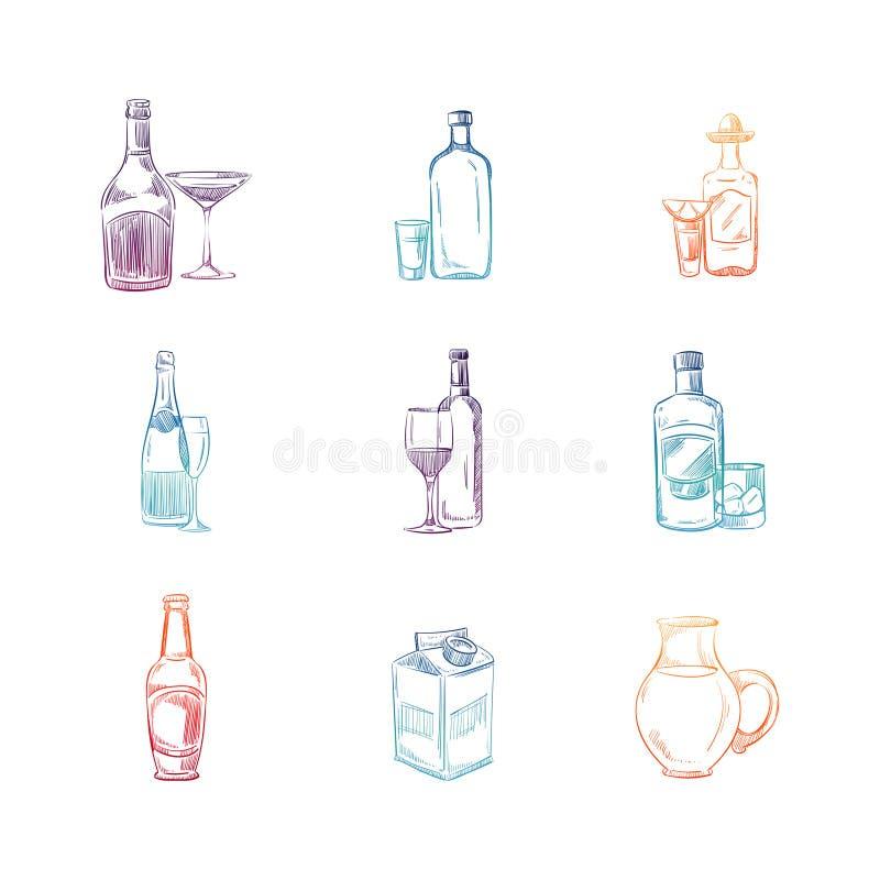 Kleurrijke schetsalcohol en niet alcoholdranken stock illustratie