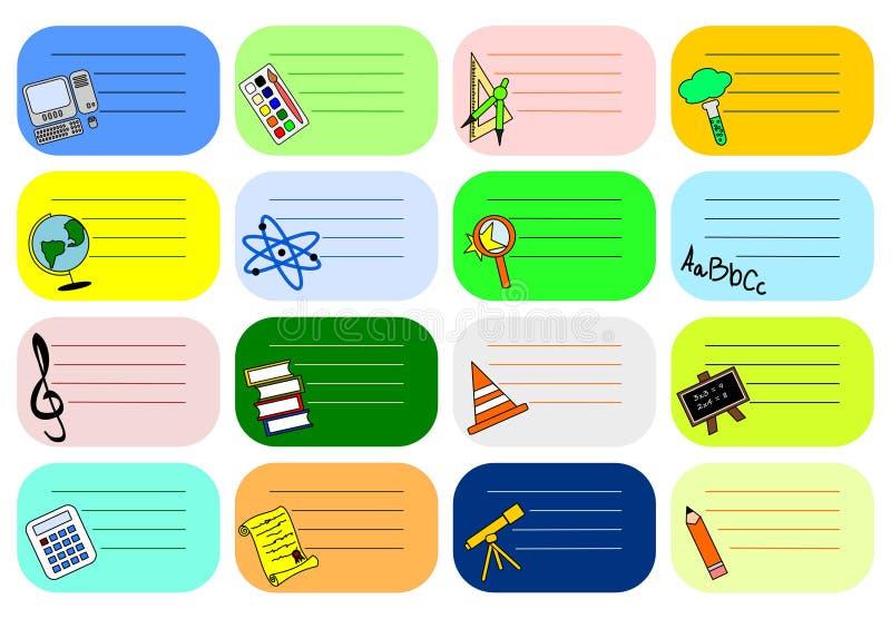 Kleurrijke schooletiketten stock illustratie