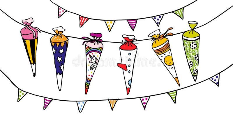 Kleurrijke schoolscones voor de eerste dag van school - overhandig getrokken illustratie voor horizontale kaarten of banners royalty-vrije illustratie