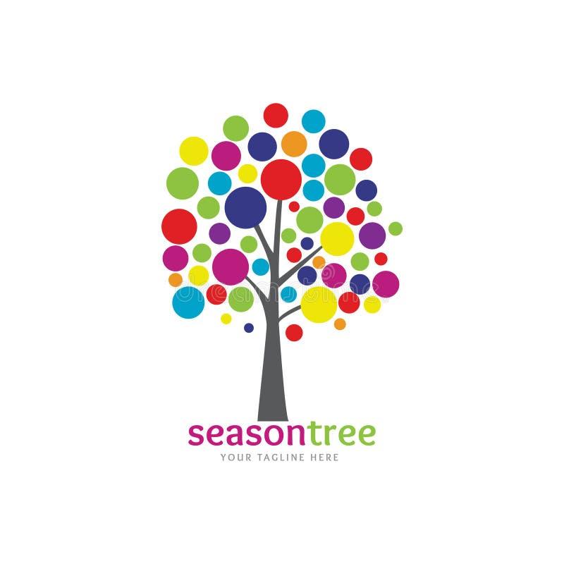 Kleurrijke seizoenboom stock illustratie
