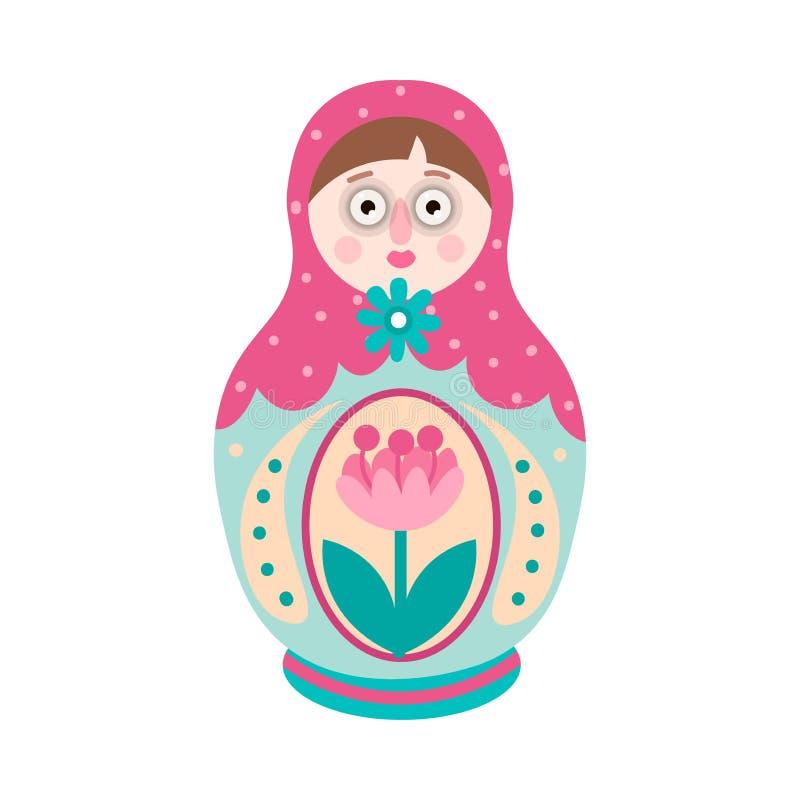 Kleurrijke sier Russische traditionele het nestelen pop, met bloem royalty-vrije illustratie