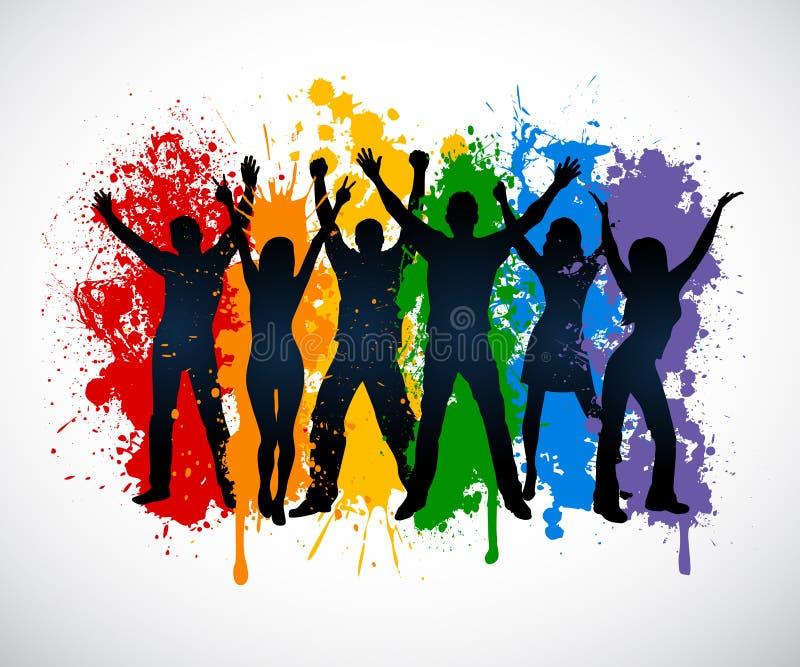 Kleurrijke silhouetten van mensen die LGBT-installatie supporing royalty-vrije illustratie