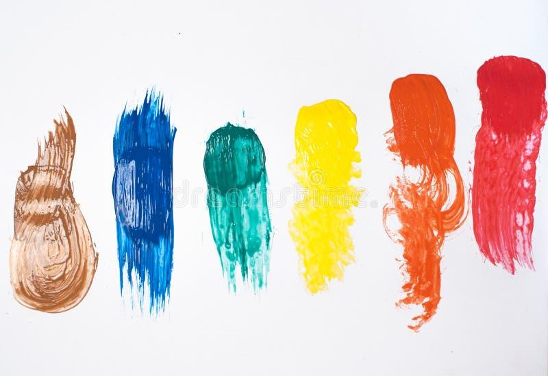 Kleurrijke slagen van acrylverf royalty-vrije stock fotografie