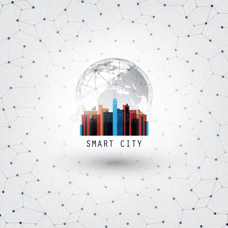 Kleurrijke Slimme Stad, Internet van Dingen, Voorzien van een netwerk of Wolk Gegevensverwerkingsontwerpconcept - Digitaal Netwer stock illustratie
