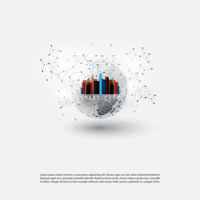 Kleurrijke Slimme Stad, Wolk het Concept van het Gegevensverwerkingsontwerp - Digitaal Netwerkverbindingen, Technologieachtergron vector illustratie