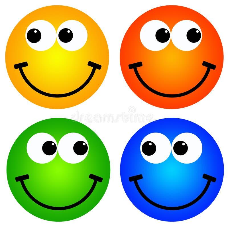 Kleurrijke smileys stock illustratie