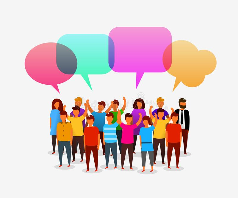 Kleurrijke sociale netwerkmensen met toespraakbellen Bedrijfs sociaal voorzien van een netwerk en communicatie concept royalty-vrije illustratie