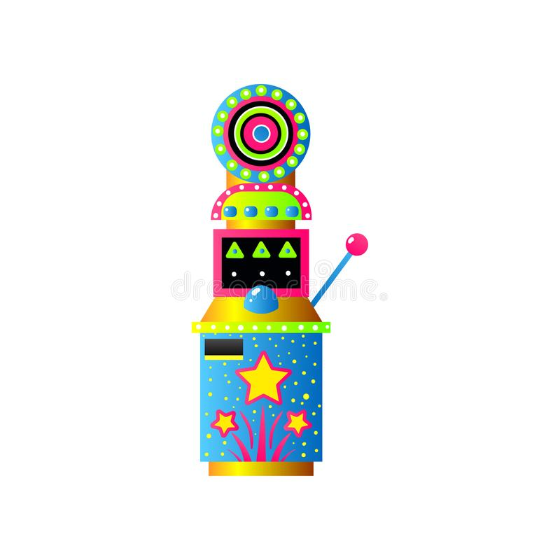 Kleurrijke spelgokautomaat met doel en blauwe knoop stock illustratie