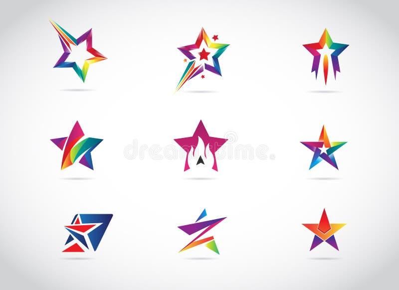Kleurrijke Ster Logo Design Collection stock illustratie