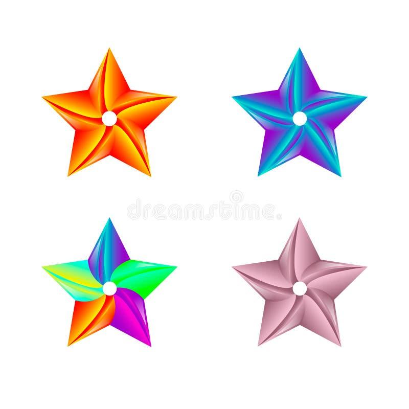 Kleurrijke Ster Logo Template Ge?soleerdj op witte achtergrond Vector illustratie stock illustratie