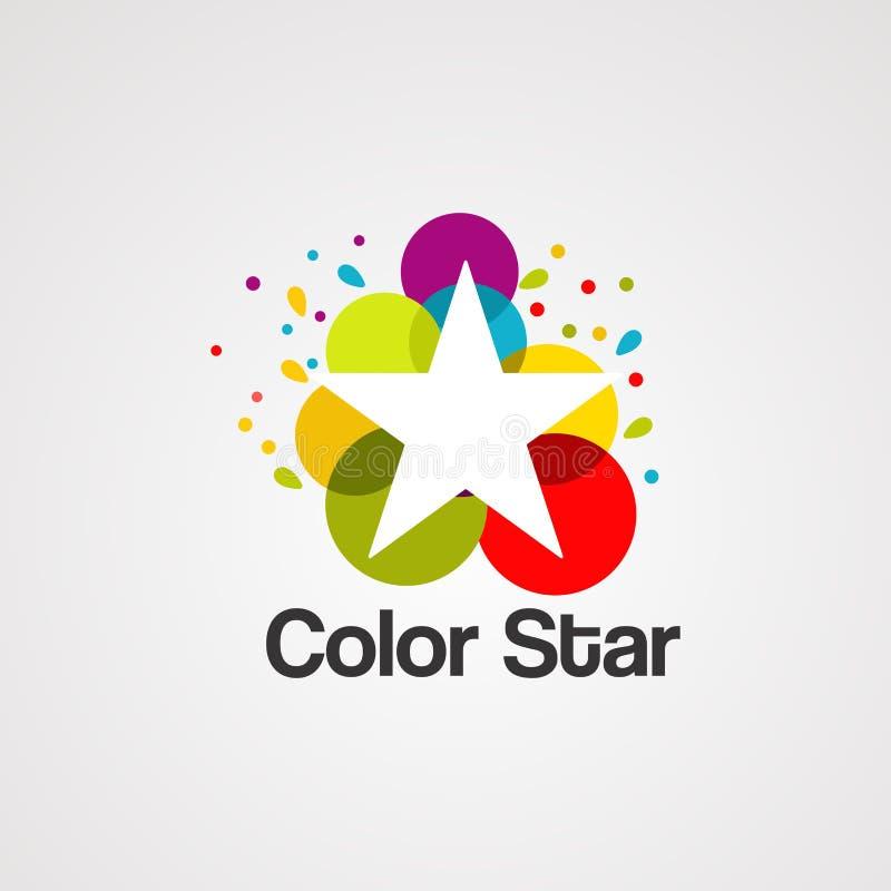 Kleurrijke ster met de vector, het pictogram, het element, en het malplaatje van het bellenembleem voor bedrijf stock illustratie