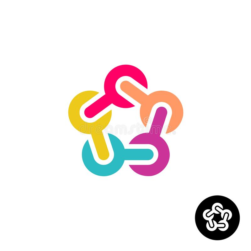 Kleurrijke ster met het rond gemaakte embleem van verbindingsknopen stock illustratie