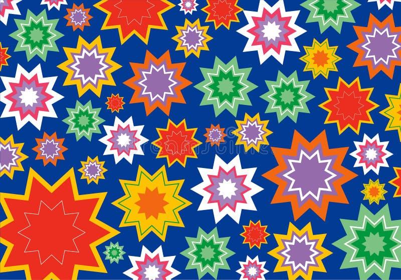 Kleurrijke sterbloem op blauw vector illustratie