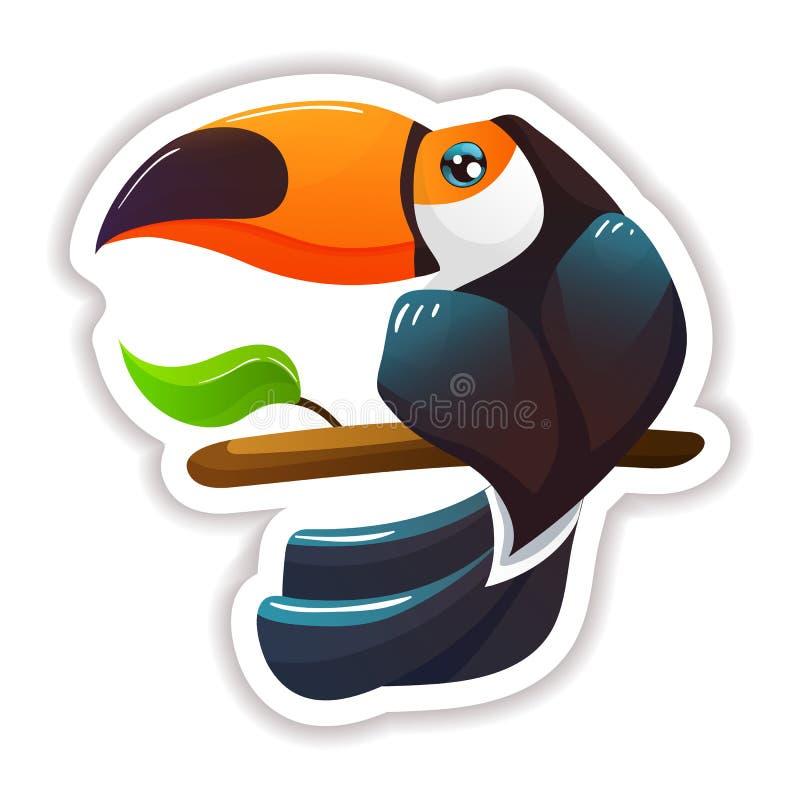 Kleurrijke sticker, etiket, logotype Moderne tropische mooie exotische vogeltoekan vector illustratie