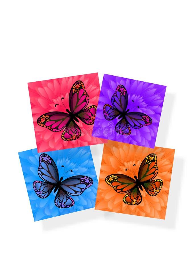 Kleurrijke sticker vier met vlindersillustratie op witte bac stock illustratie