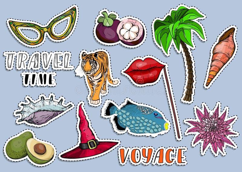 Kleurrijke stickerreeks Reizende tijd en de zomerroeping concep stock illustratie