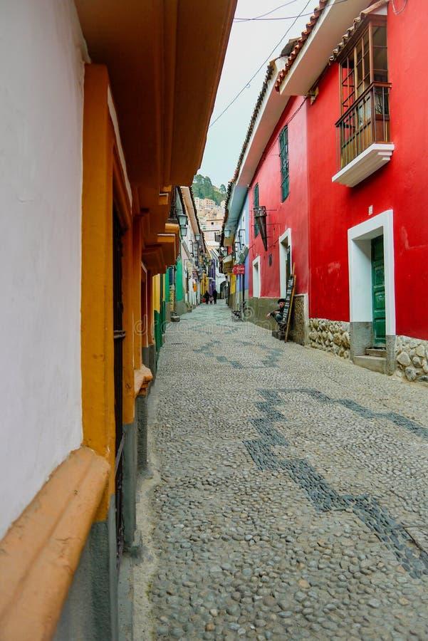 Kleurrijke straat in La Paz, Bolivië royalty-vrije stock afbeelding