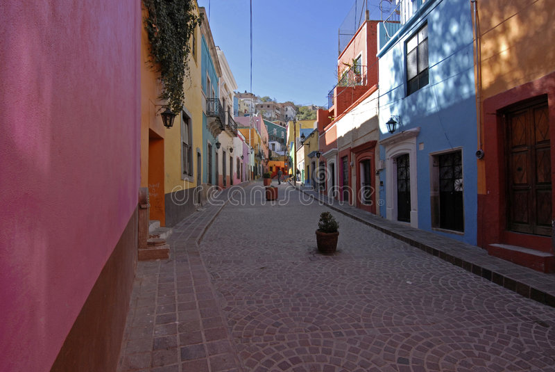 Kleurrijke Straat in Mexico stock foto's