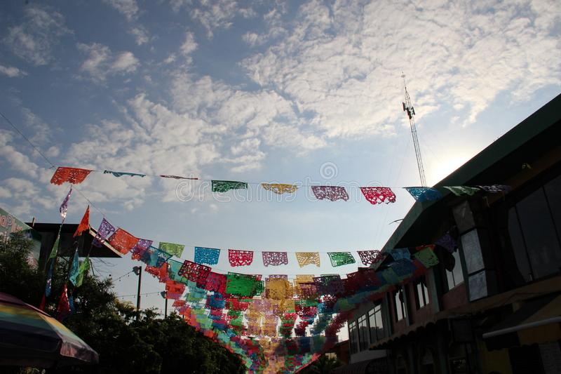 Kleurrijke straat in Sayulita Nayarit royalty-vrije stock afbeelding