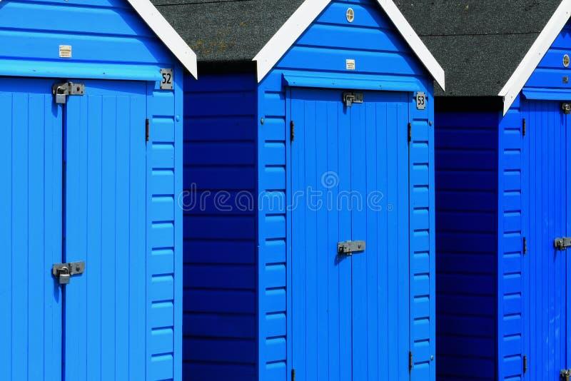 Kleurrijke Strandhutten, het Strand van Bournemouth, Engeland royalty-vrije stock fotografie