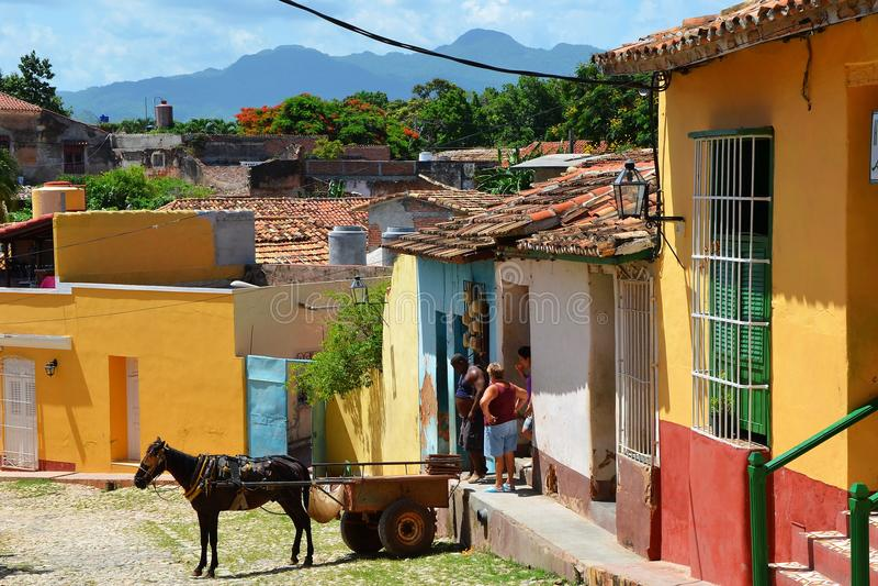 Kleurrijke straten, koloniaal Trinidad royalty-vrije stock foto's
