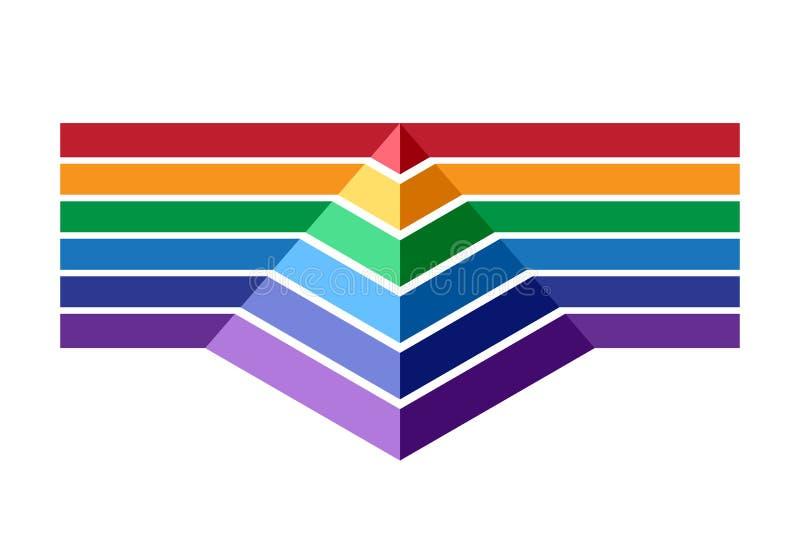 Kleurrijke strepen en piramide stock illustratie