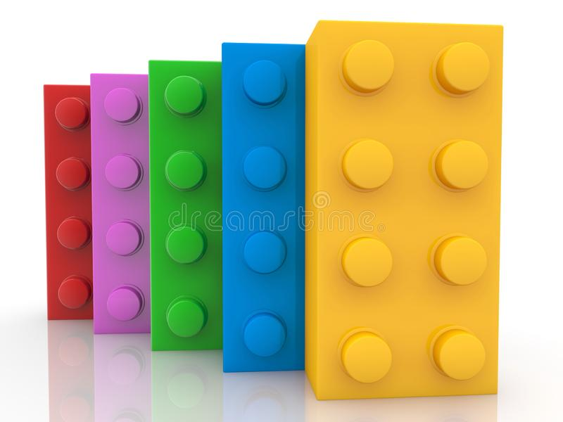 Kleurrijke stuk speelgoed bakstenen in één rij achter elkaar stock illustratie