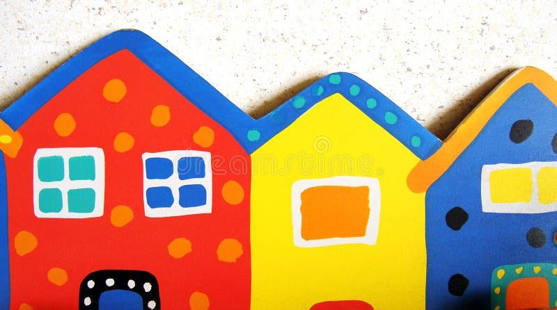 Kleurrijke stuk speelgoed huizen royalty-vrije stock foto