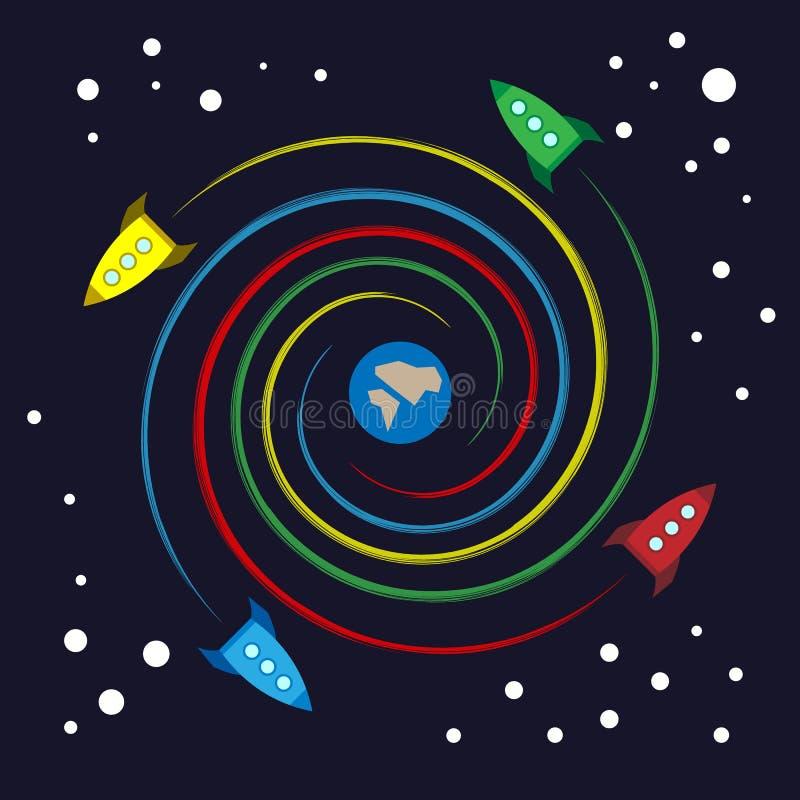 Kleurrijke stuk speelgoed raketten die spiraal vliegen rond Aarde stock illustratie
