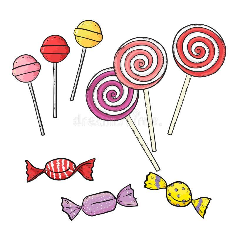 Kleurrijke suikergoed en lollys op wit stock illustratie