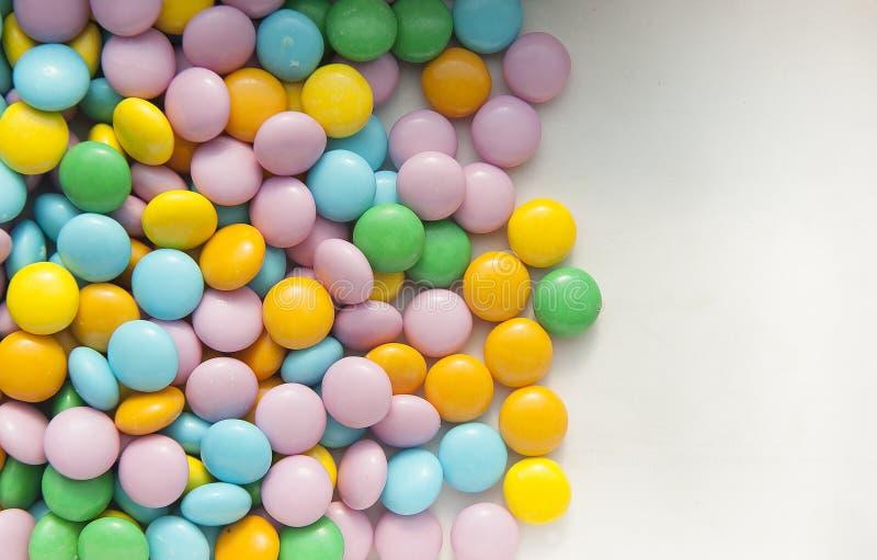 Kleurrijke suikergoedachtergrond met een ruimte voor tekst stock afbeelding