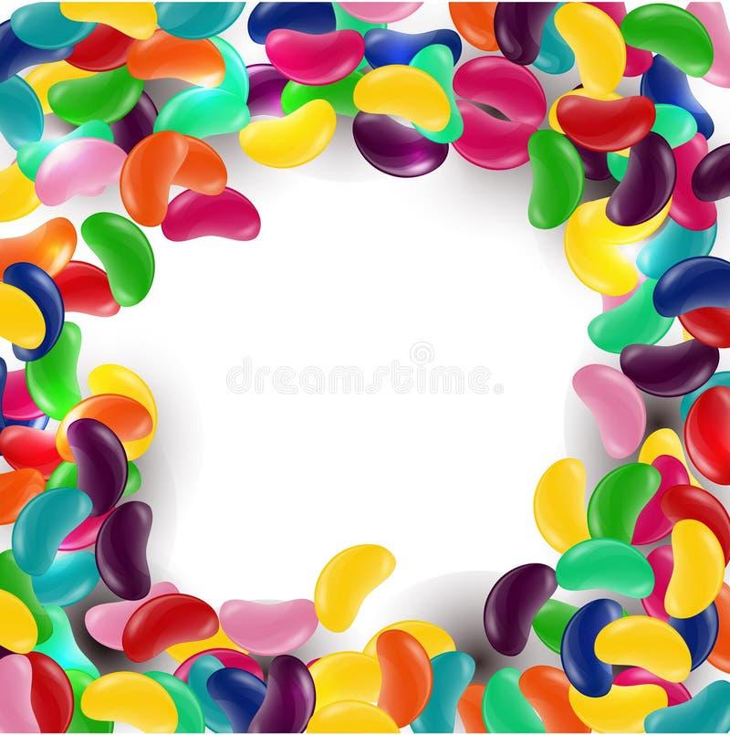 Kleurrijke suikergoedachtergrond met geleibonen vector illustratie