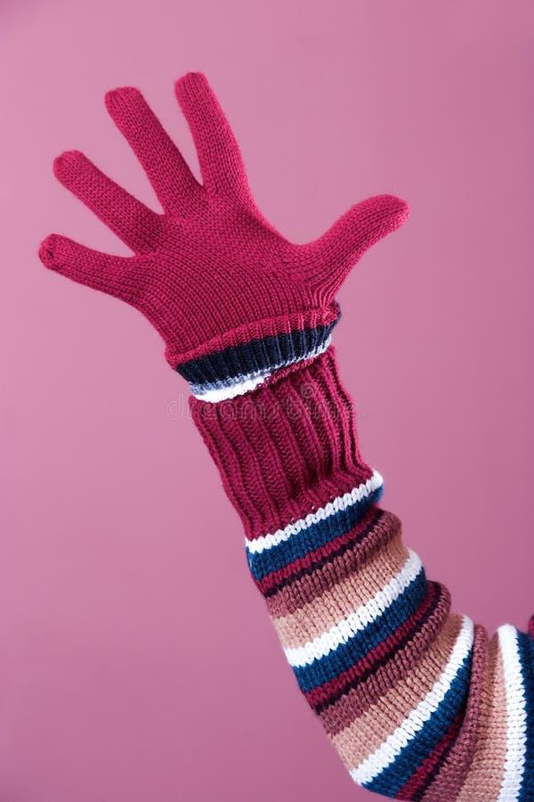 Kleurrijke sweater en handschoen stock fotografie