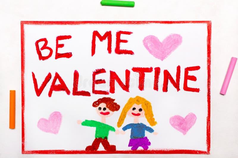 Kleurrijke tekening: De Dagkaart van Valentine met paar royalty-vrije stock afbeelding