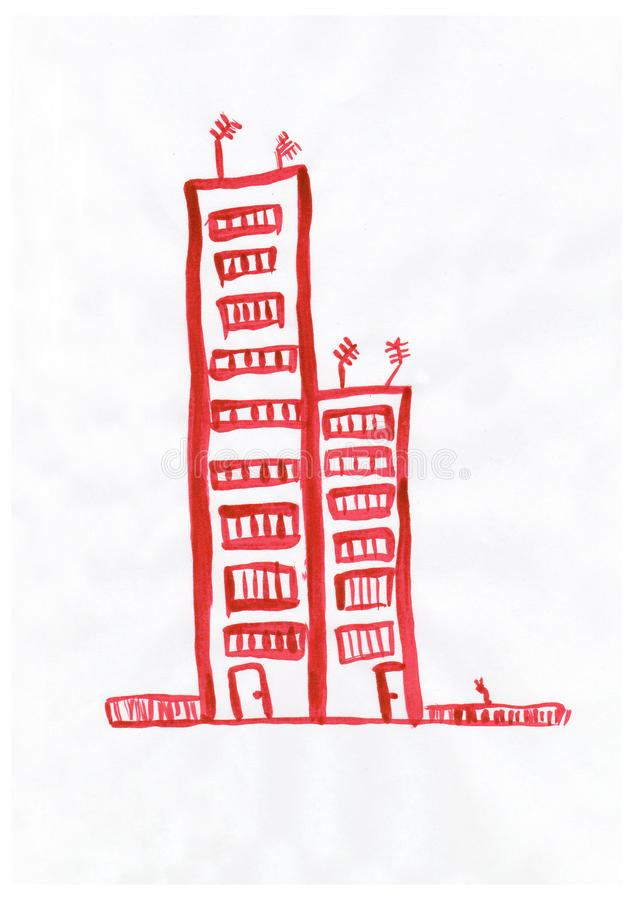 Kleurrijke tekening: een huis met een rood dak royalty-vrije stock afbeeldingen