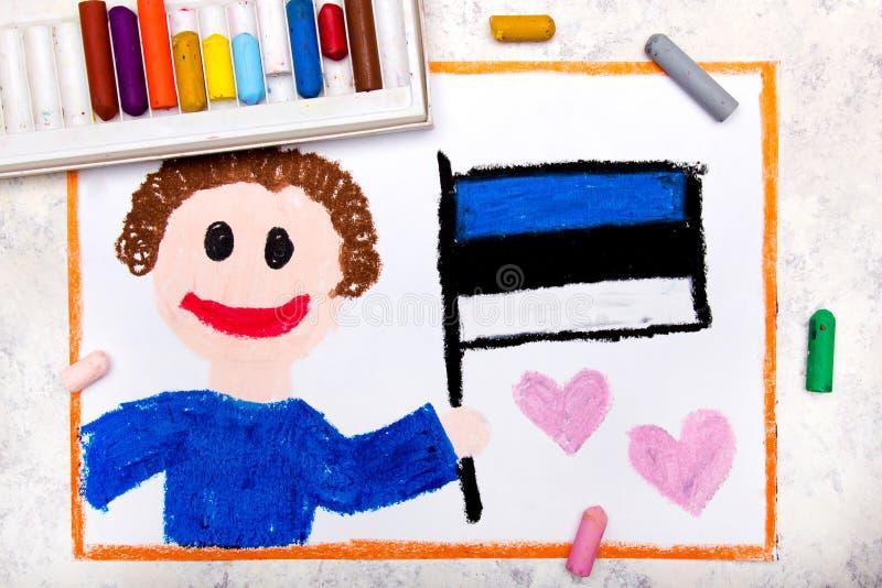 Kleurrijke tekening: Gelukkige mens die Estlandse vlag houden royalty-vrije stock foto