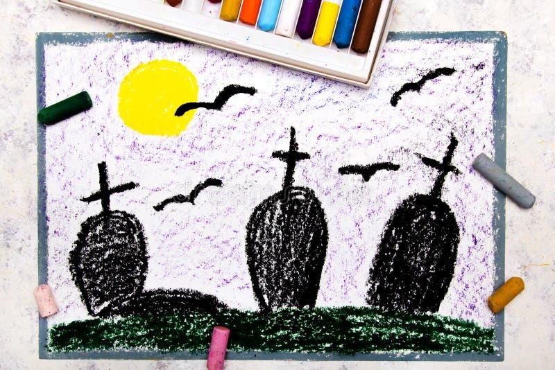 Kleurrijke tekening: oude enge begraafplaats bij nacht stock foto's