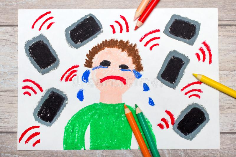 kleurrijke tekening: Schreeuwende die jongen telefonisch wordt omringd of tabletten royalty-vrije stock afbeeldingen