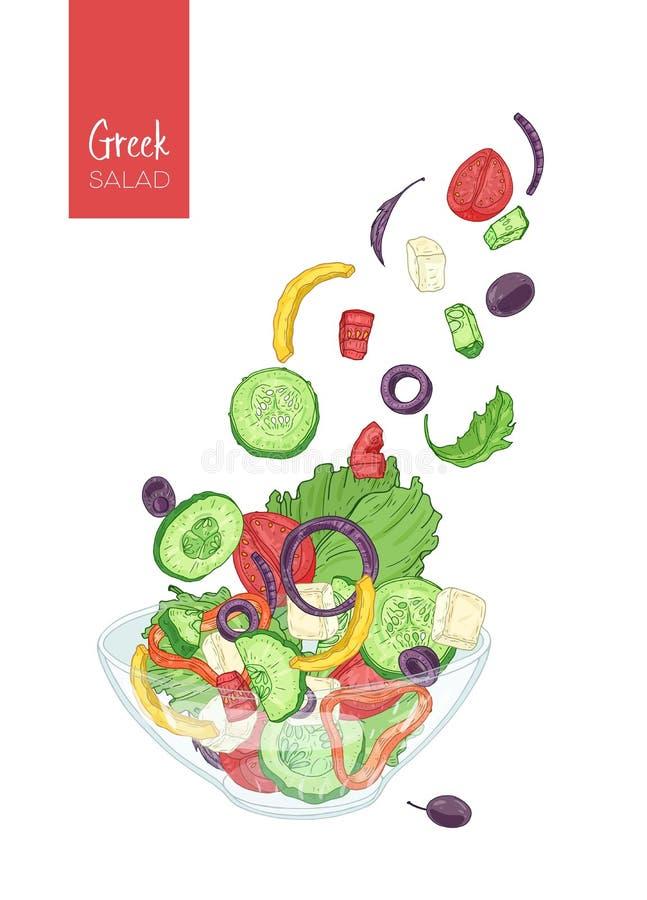 Kleurrijke tekening van Griekse salade en zijn ingrediënten Tomaat, komkommer, olijf, feta-kaas, ui, groene paprikastukken en vector illustratie