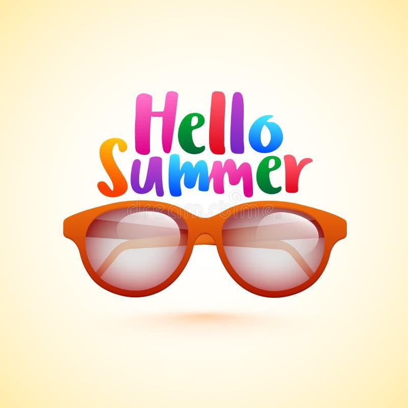 Kleurrijke tekst van de Zomer en de zonnebril van Hello op glanzende achtergrond vector illustratie